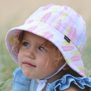 Girls Baby Bucket Hat 'Feather' Print