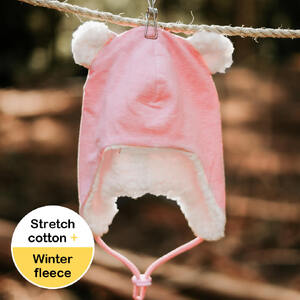 Fleecy Baby Beanie - Baby Pink Marle