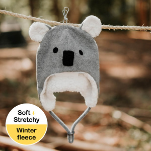 Koala Fleecy Winter Beanie - Grey Marle