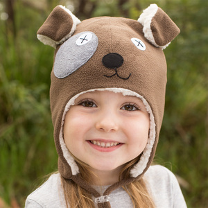Puppy Fleecy Winter Beanie - Brown