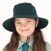 School Broadbrim Hat with Strap - Bottle Green