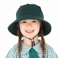 School Bucket Hat with Strap - Bottle Green