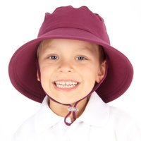 School Bucket Hat with Strap - Maroon