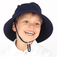 School Bucket Hat with Strap - Navy