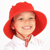 School Bucket Hat with Strap - Red