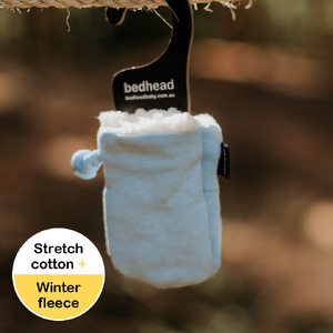 Fleecy Baby Mittens - Baby Blue Marle