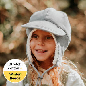 Fleecy Legionnaire Winter Hat with Strap - Grey Marle