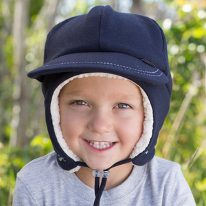 Fleecy Legionnaire Winter Hat  with Strap - Navy