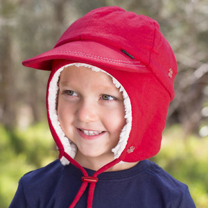 Fleecy Legionnaire Winter Hat with Strap - Red