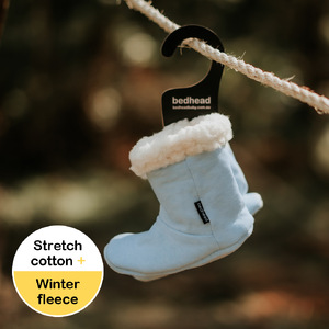 Fleecy Winter Booties - Baby Blue Marle