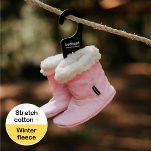 Fleecy Winter Booties - Baby Pink Marle