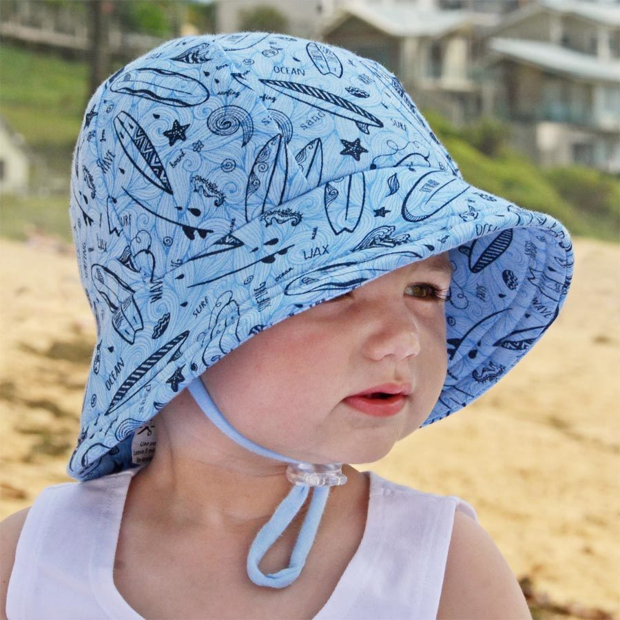 6174041de8d Boys Baby Bucket Hat  Live to Surf  Print. UPF50+ Baby Sun Hat with Chin  Strap