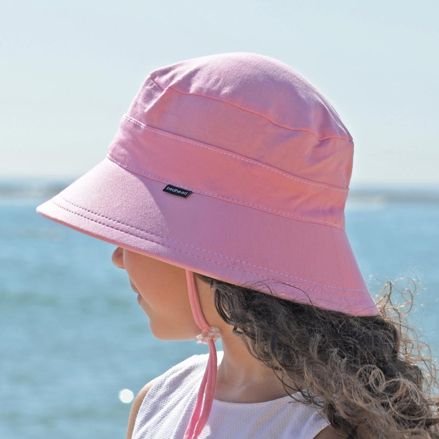 5316c985d5 Girls Bucket Hat in Pink with Strap - Bedhead hats -UPF 50+ Baby ...
