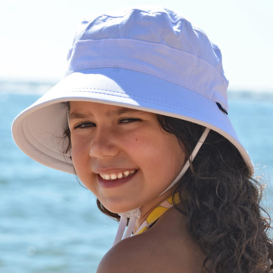 cb43df96c7eb0 Bedhead hats - White Bucket Hat with strap for girls boys   baby ...