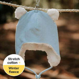 Fleecy Baby Beanie - Baby Blue Marle