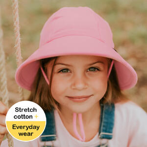 Ponytail Bucket Hat with Strap - Baby Pink