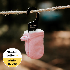 Fleecy Baby Mittens - Baby Pink Marle